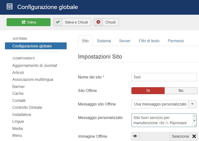 Attivare la modalità in manutenzione di un sito Joomla