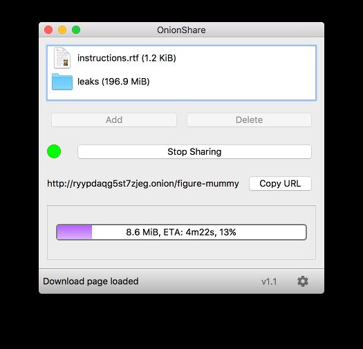 OnionShare, alternative open source a Dropbox