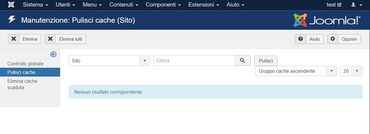 Joomla menu di sistema, pulisci cache