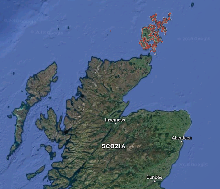 Isole Orcadi (Google Maps)