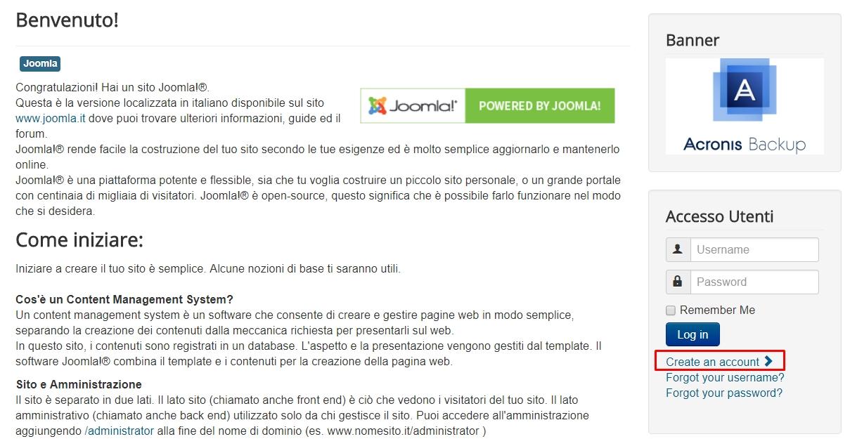 Joomla, attivare la registrazione utenti