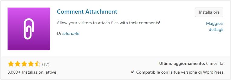 WordPress attivare la funzione allega file nei commenti