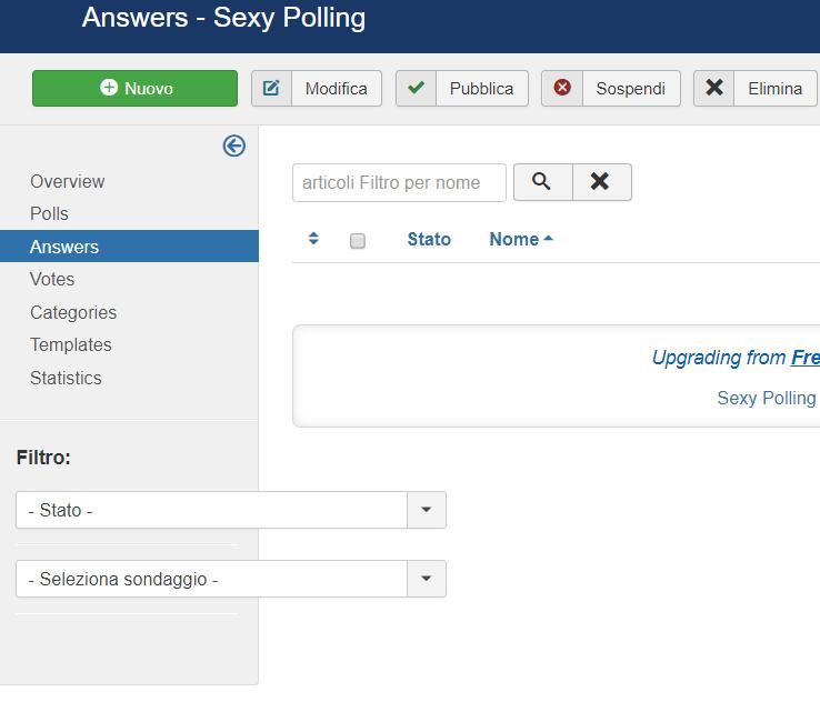 Inserire un sondaggio in Joomla