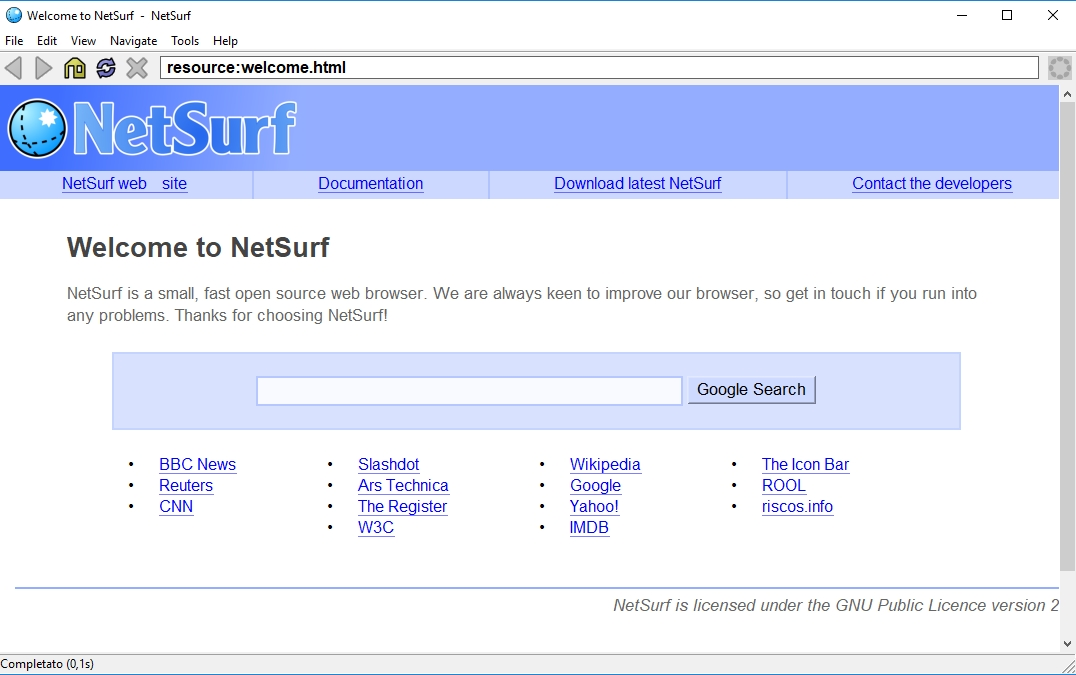 Netsurf Web Browser