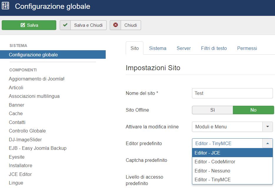 JCE, modifica UI editor contenuti Joomla