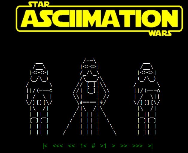 Uno dei tanti omaggi a Telnet, in questo caso Star Wars è stato riprodotto integralmente in ASCII art