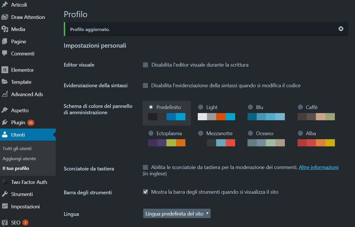 WordPress tema scuro
