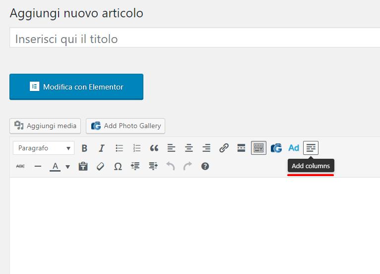 WordPress aggiungere due o più colonne
