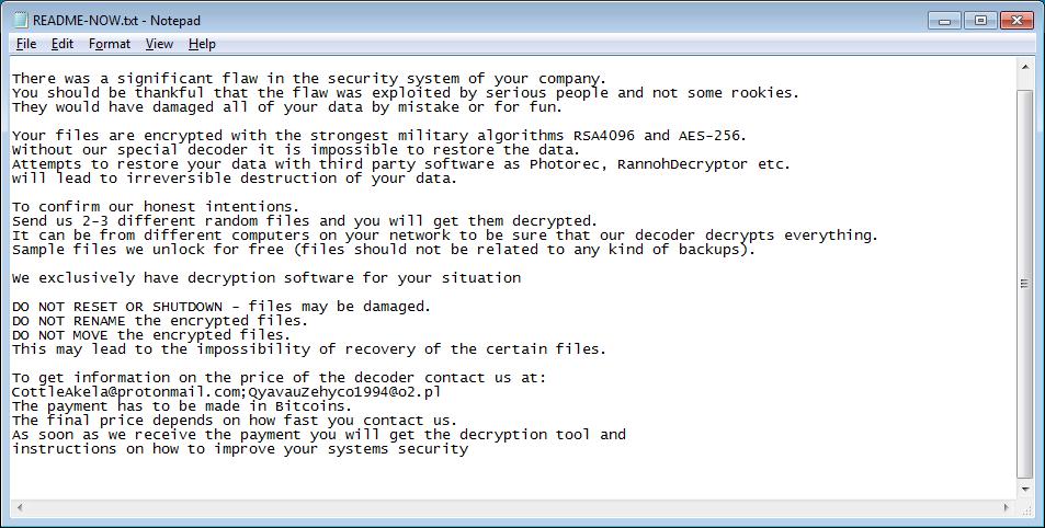 file README-NOW.txt rilasciato da LockerGoga